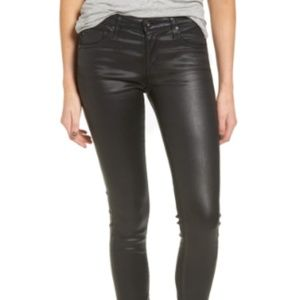 AG Leatherette Coated Ankle Skinny Jeans Black 26